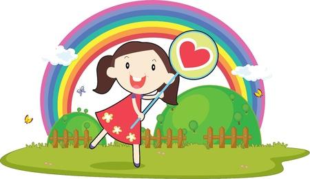 illustration of girl on white Vector