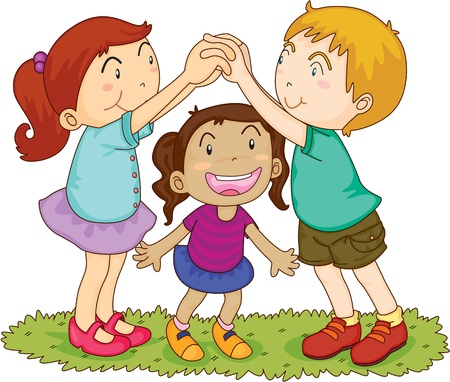 three colors: illustration of kids on white Illustration
