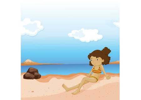 illustration of girl on beach Vector