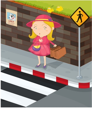 illustration of girl crossing the road Stock Vector - 13158354