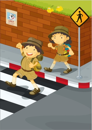 cross roads: illustration of kids crossing the road