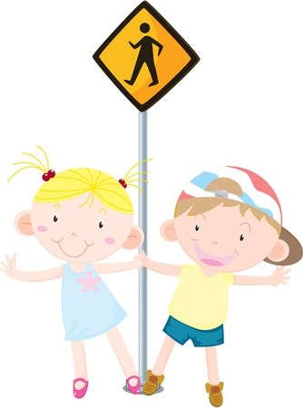 illustration of kids near the signal Stock Vector - 13158196