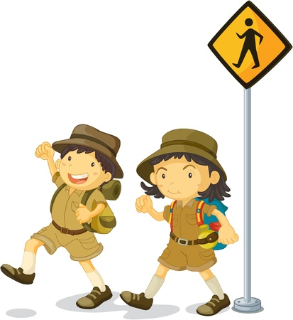 2 objects: illustration of kids near the signal