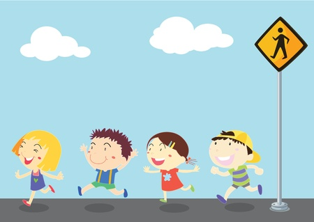 illustration of kids near the signal
