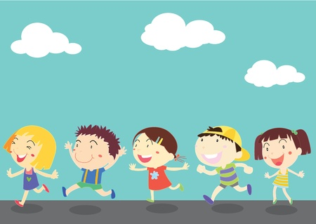 illustration of kids on blue sky background Vector
