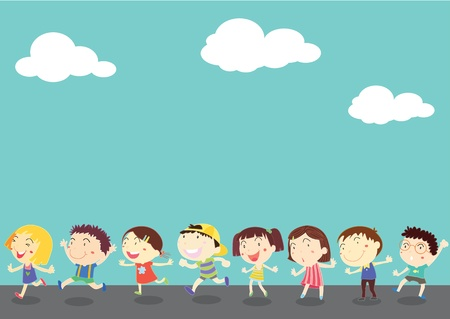 child walking: illustration of kids on blue sky background