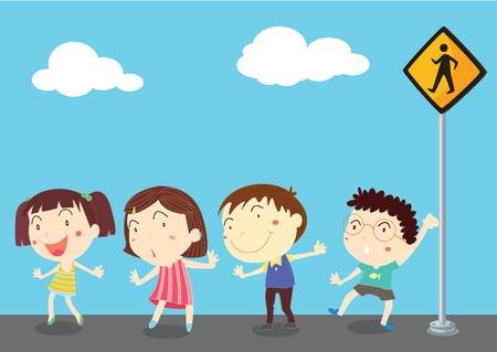 illustration of kids near the signal Stock Vector - 13158256