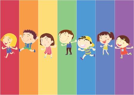 seven: illustration of kids on rainbow background