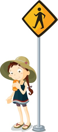 illustration of kid near the signal Stock Vector - 13158254