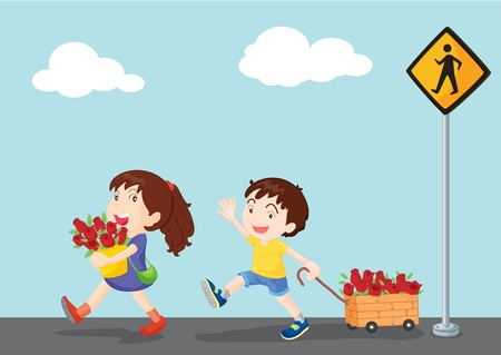 trolly: illustration of kids near the signal