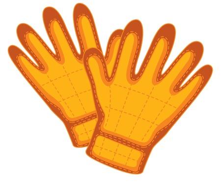rubber glove: illustration of gloves on white Illustration