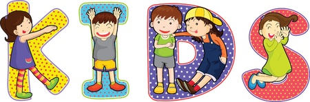 i kids: illustration of cartoon alphabets on white Illustration