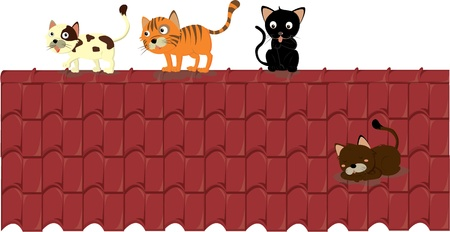 yellow roof: illustration of cats on the roof