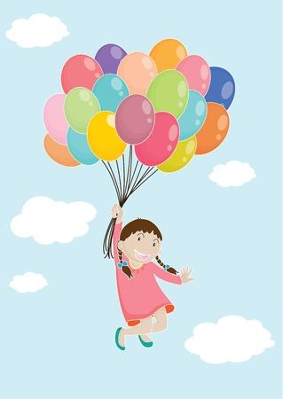 flying balloon: illustration of a girl on white Illustration