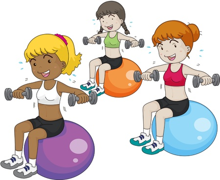 physical fitness: illustration of a girls on white