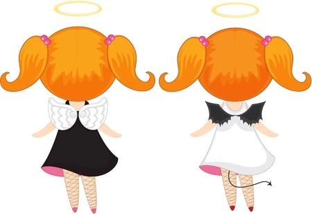 illustration of girls on white Vector