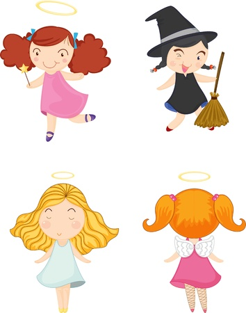 wicked: illustration of girls on white
