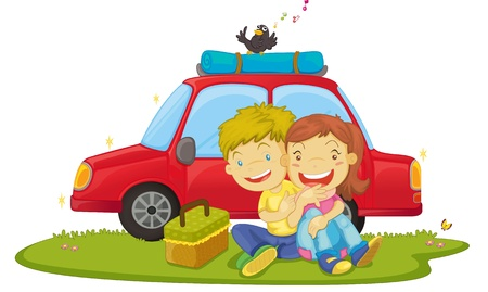 2 objects: illustration of boys sitting near car