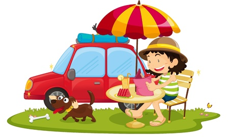 illustration of girl sitting near car