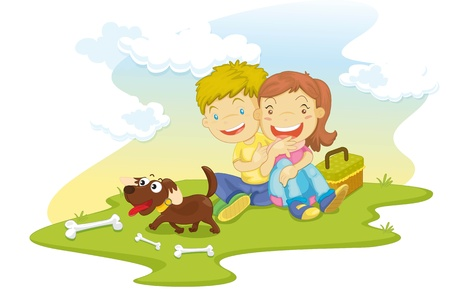 illustration of a girl and boy on white Vector