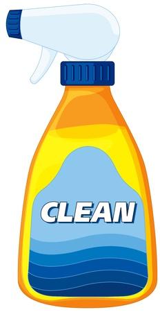 Illustration der Reiniger Flasche auf weißem
