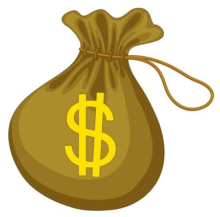 illustration of money bag on white Illustration