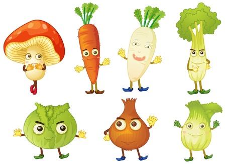 zanahoria caricatura: ilustraci�n de diversos objetos sobre un fondo blanco