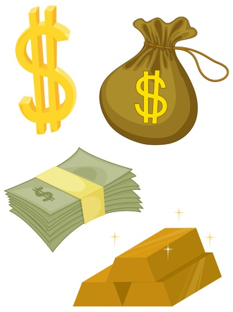 money bags: illustration of various objects on white