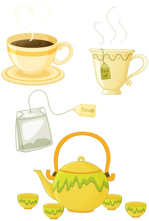 teabag: illustration of various objects on white