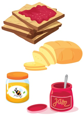 jam jar: illustration of various objects on white