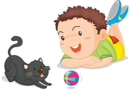 gato jugando: Ilustración de un niño en blanco Vectores