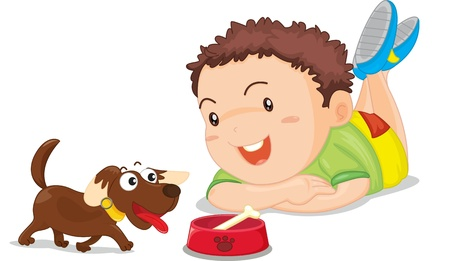 illustration of boy and dog Vector