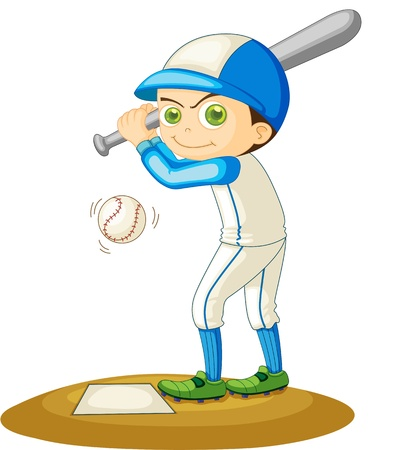 baseball cartoon: Illustration of  a boy  on white
