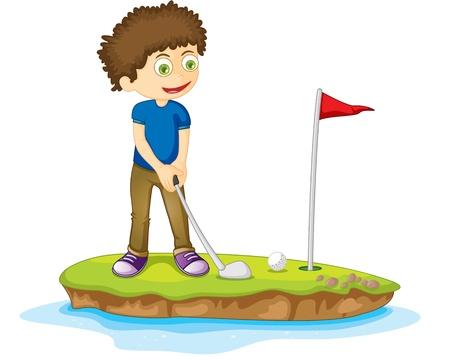 golf stick: Ilustraci�n de un ni�o en blanco Vectores