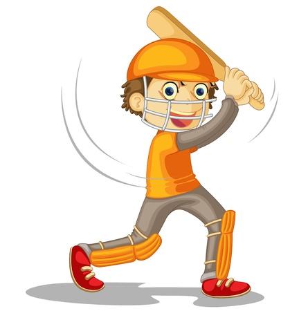 cricket: Illustrazione di un ragazzo su bianco