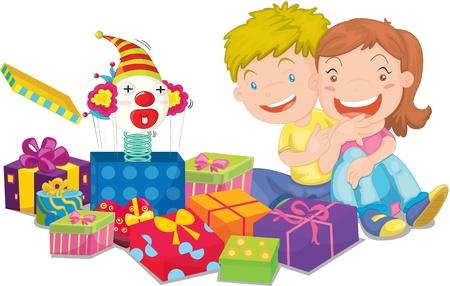 illustration de jouet et coffrets cadeaux sur fond blanc