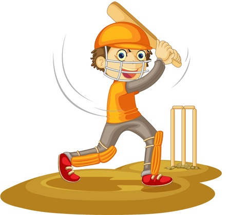 sport cartoon: Illustration of  a boy  on white
