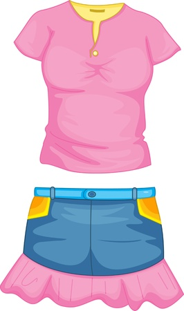 clothes cartoon: illustration of girl apparel on white