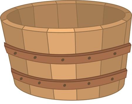 illustration of wooden basket on white Stock Vector - 13170874