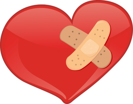 colorful heart: illustration of heart symbol on white Illustration