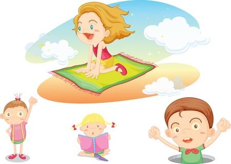 libros volando: ilustración de los niños en blanco