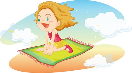 fly cartoon: illustration of girl flying on mat Illustration