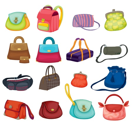 items: Illustration of assortment of bags