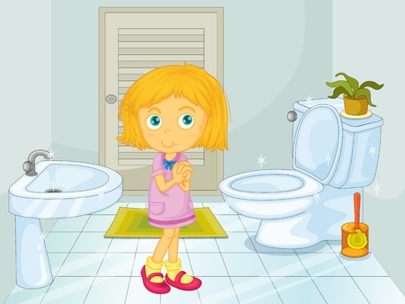 Cute blonde girl in the bathroom Vector