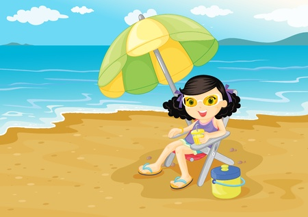 Illustration of girl at the beach Vector