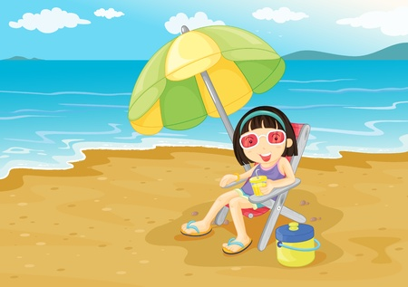 Illustration of girl on the beach Vector