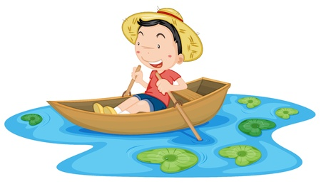 lily pads: Illustration of boy in a boat Illustration
