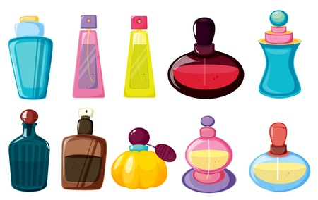 essentials: Illustration of bottles of perfume Illustration