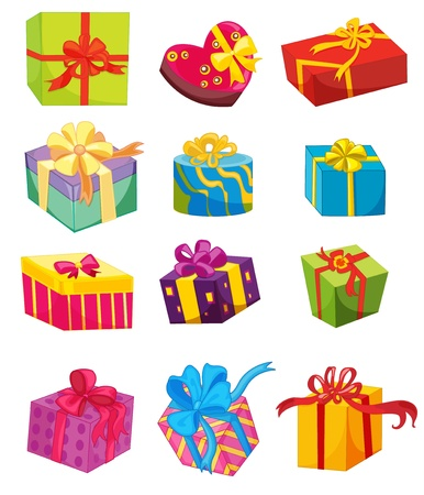 gift parcel: Illustration of presents on white Illustration