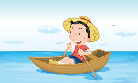 straw hat: Illustration of a boy in a boat at beach